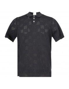 Polo nera in maglia di cotone a manica corta con lavorazione