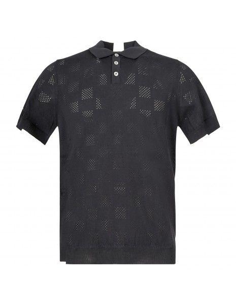 +39 Masq - Polo nera in maglia di cotone a manica corta con lavorazione per