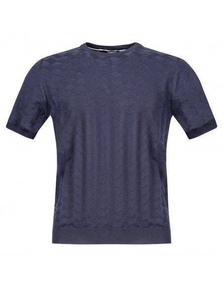 +39 Masq - T-shirt blu in maglia di cotone a manica corta con lavorazione per