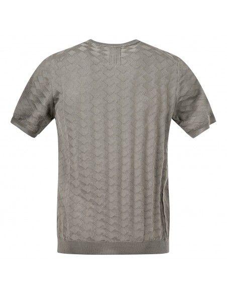 +39 Masq - T-shirt verde in maglia di cotone a manica corta con lavorazione per