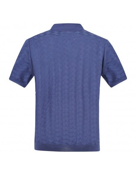 +39 Masq - Polo azzurra in maglia di cotone a manica corta con lavorazione per