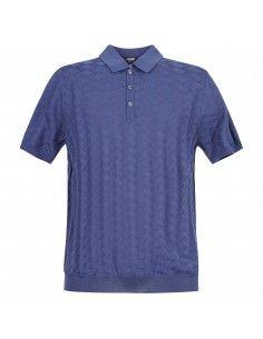 Polo azzurra in maglia di cotone a manica corta con lavorazione