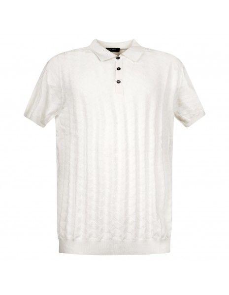 +39 Masq - Polo bianca in maglia di cotone a manica corta con lavorazione per