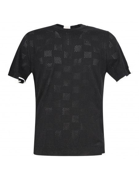 +39 Masq - T-shirt nera in maglia di cotone a manica corta con lavorazione per