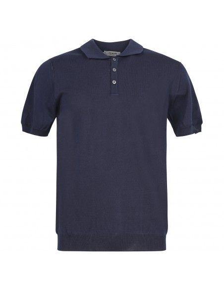 +39 Masq - Polo blu in maglia di cotone a manica corta per uomo |