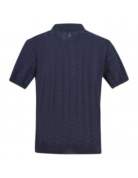 +39 Masq - Polo blu in maglia di cotone a manica corta con lavorazione per uomo