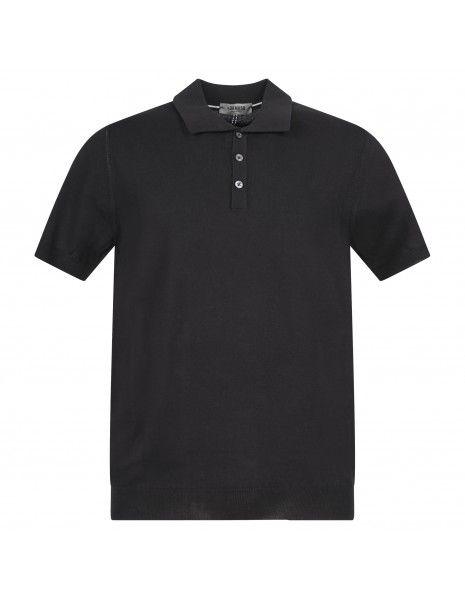 +39 Masq - Polo nera in maglia di cotone a manica corta per uomo |