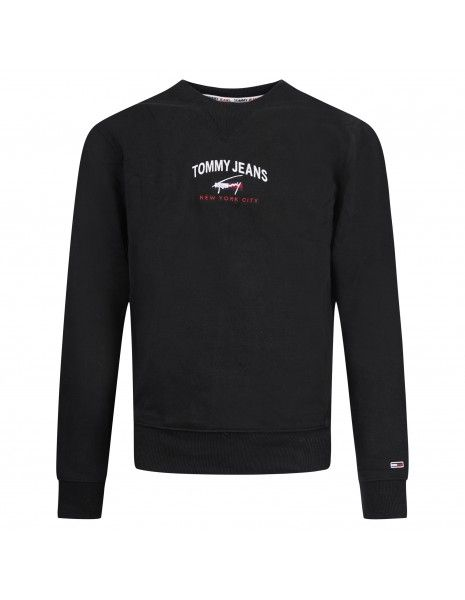Tommy Jeans - Felpa nera girocollo con stampa logo per uomo   dm0dm10193bds