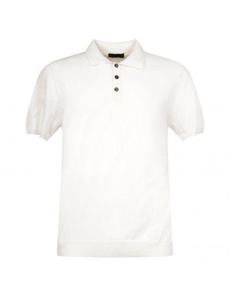 +39 Masq - Polo bianca in maglia di cotone a manica corta per uomo  