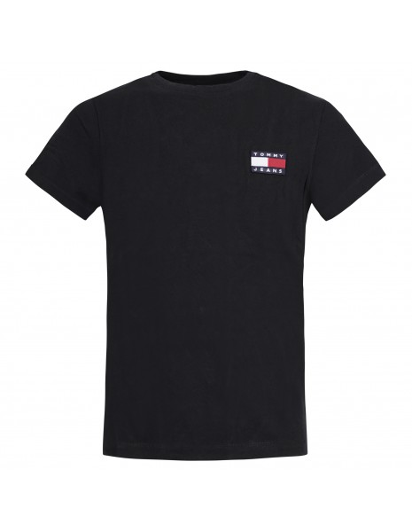 Tommy Jeans - T-shirt nera manica corta con patch logo per uomo | dm0dm06595bds