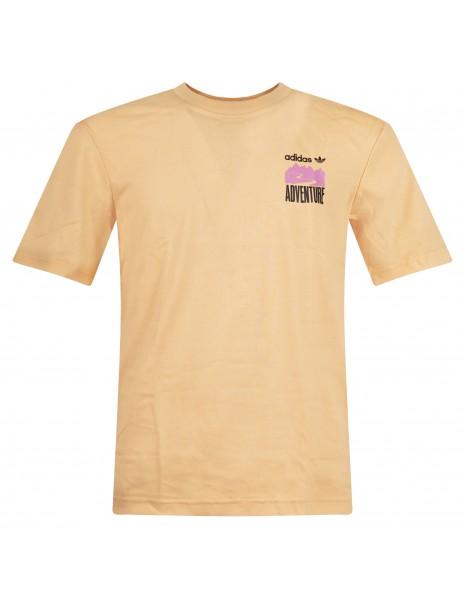 Adidas Originals - T-shirt arancione manica corta con stampa logo per uomo  