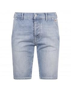 Bermuda jeans tasca a filo denim chiaro slim