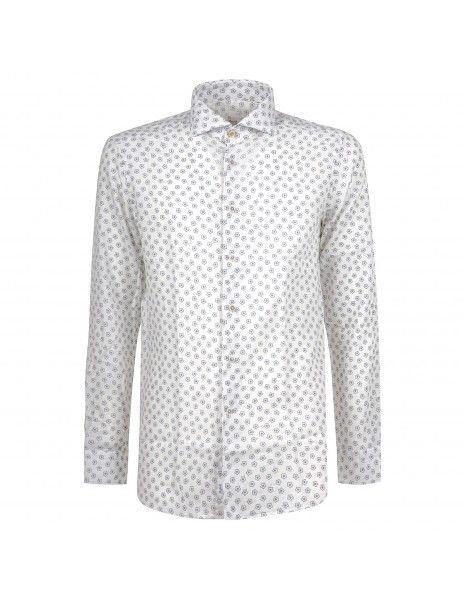 Barbati - Camicia bianca con stampa stella in lino per uomo | ce-cetara/r-w