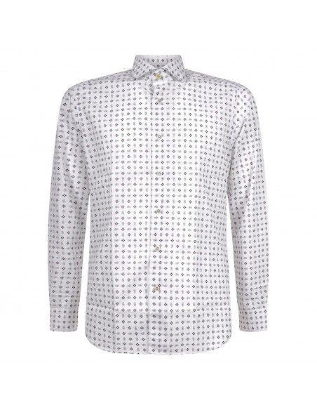 Barbati - Camicia bianca con stampa fiori per uomo   ce-cetara/r-w 121007 30