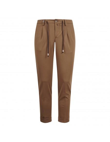 Barbati - Pantalone marrone con elastico e coulisse per uomo | p-gregory/c