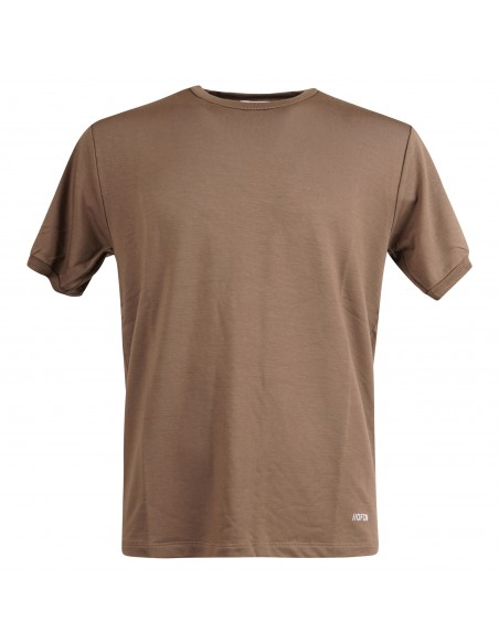 Officina36 - T-shirt marrone manica corta con logo in viscosa per uomo |