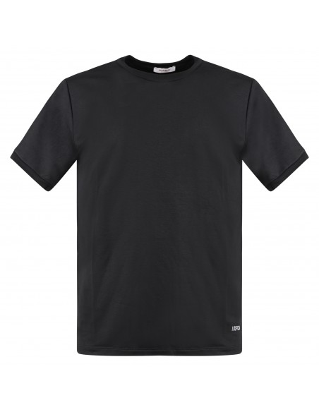 Officina36 - T-shirt nera manica corta con logo in viscosa per uomo | cumh425