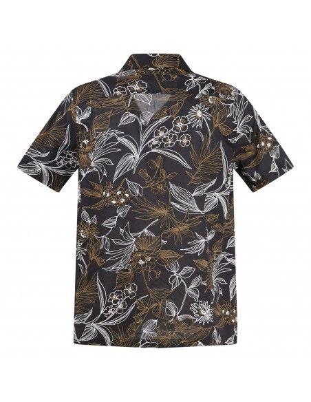 Officina36 - Camicia nera mezza manica a fantasia per uomo   03767a7904