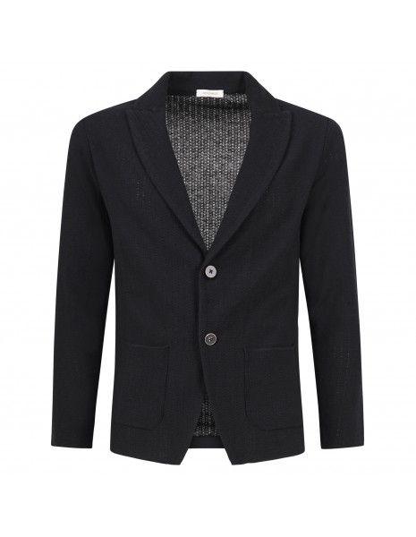 Officina36 - Giacca nera in maglia di cotone con lavorazione per uomo | cubg04