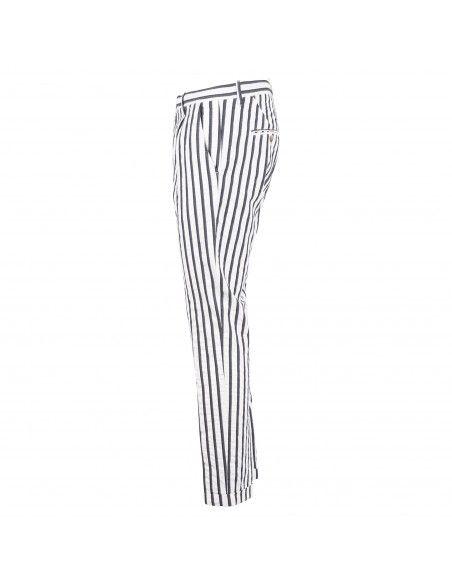 Officina36 - Pantalone bianco tasca a filo rigato blu per uomo | 0281408250