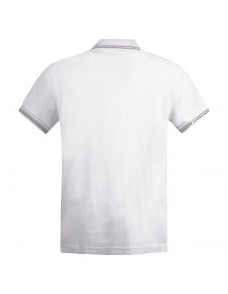 Museum - Polo bianca manica corta con patch logo per uomo | climb shirt
