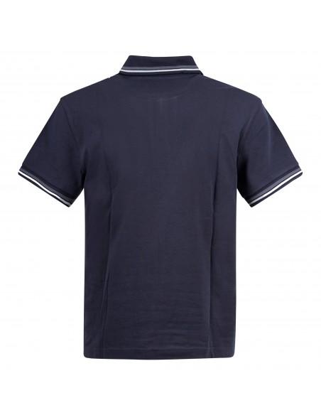 Museum - Polo blu manica corta con patch logo per uomo | climb shirt