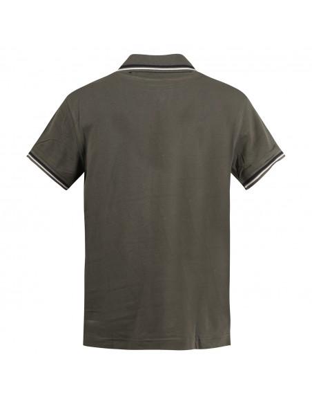 Museum - Polo verde manica corta con patch logo per uomo   climb shirt