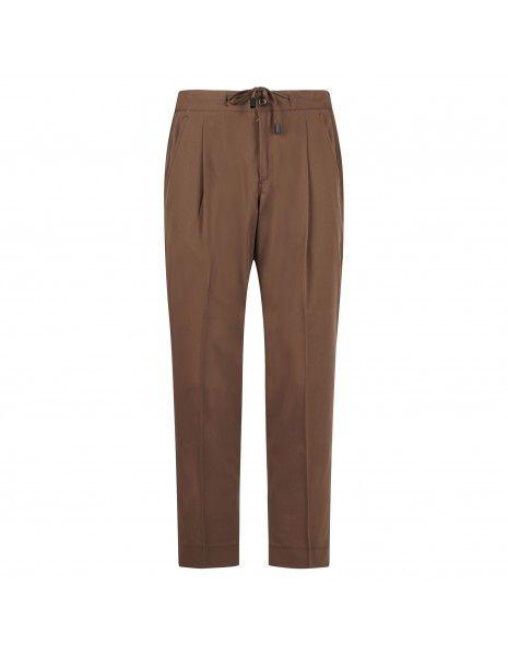 Havana & Co - Pantalone marrone tasca a filo con elastico e coulisse per uomo |