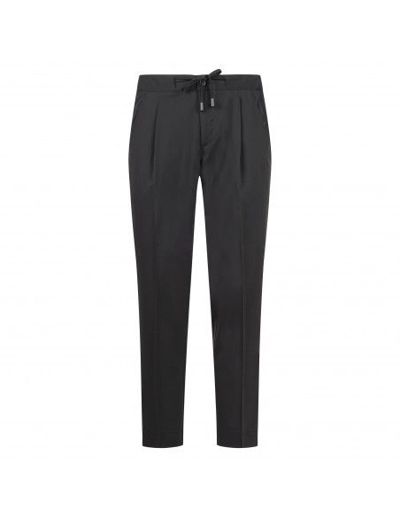 Havana & Co - Pantalone nero tasca a filo con elastico e coulisse per uomo |