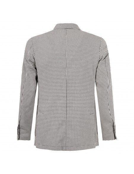 Havana & Co - Giacca marrone doppiopetto microfantasia in jersey per uomo |