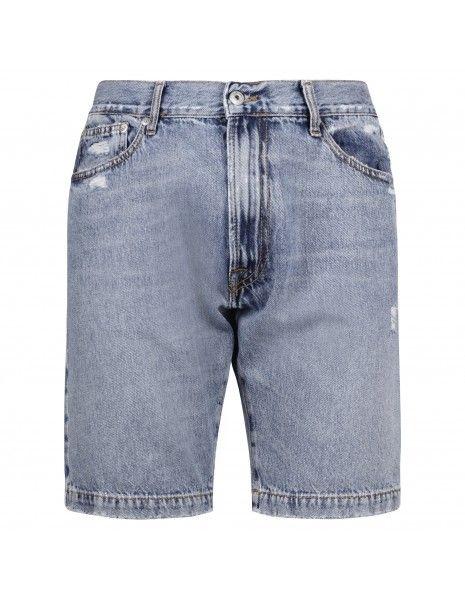 Roy Roger's - Bermuda jeans 5 tasche denim chiaro con rotture per uomo |