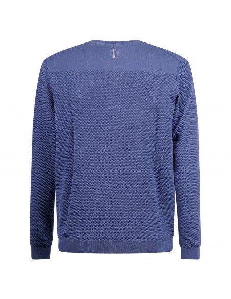 +39 Masq - Maglione girocollo azzurro con lavorazione per uomo | masq6060-14-00