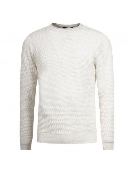 +39 Masq - Maglione girocollo bianco con lavorazione per uomo | masq6023 14-00