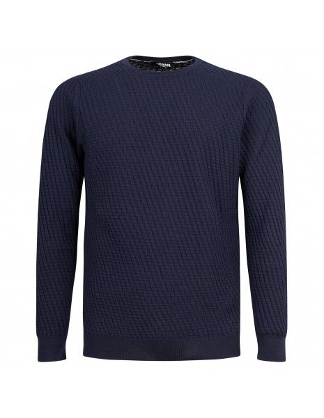 +39 Masq - Maglione girocollo blu con lavorazione per uomo   masq6023-14-00 650