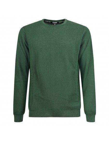 +39 Masq - Maglione girocollo verde con lavorazione per uomo | masq6060-14-00