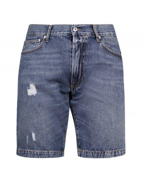Roy Roger's - Bermuda jeans 5 tasche denim con rotture per uomo |