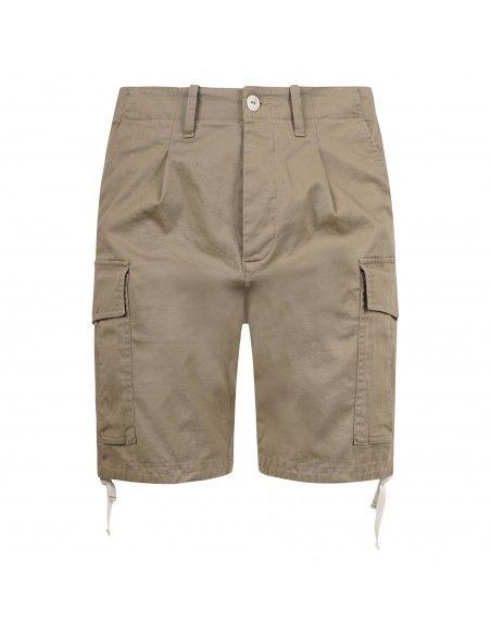 Officina36 - Bermuda beige tasca a filo con tasconi laterali per uomo |