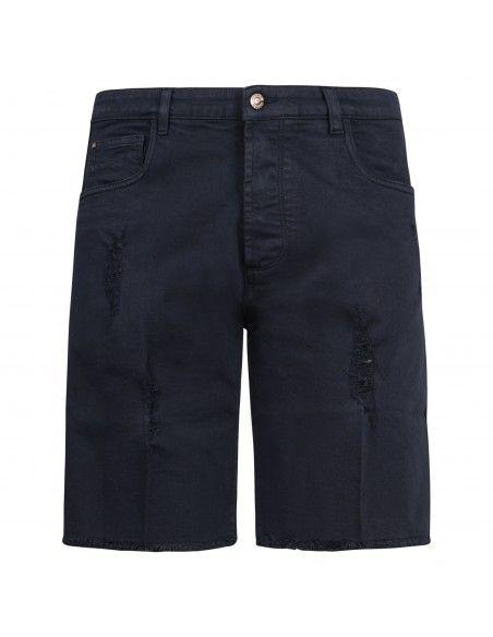 Officina36 - Bermuda blu 5 tasche con rotture per uomo | cubm02519l bm2519l blu
