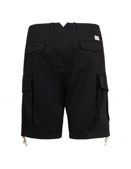Officina36 - Bermuda nera tasca a filo con tasconi laterali per uomo |