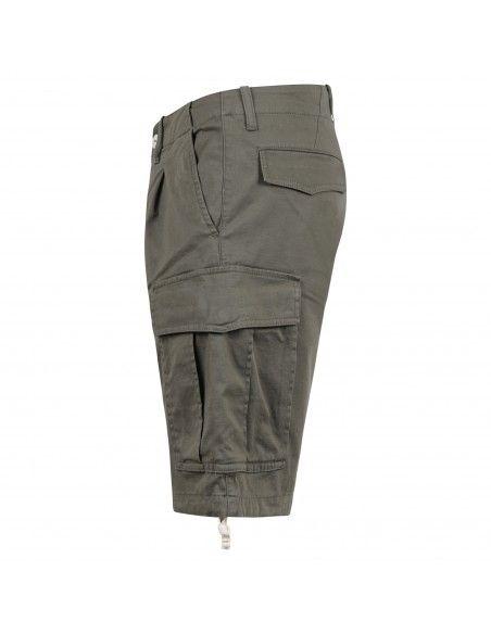 Officina36 - Bermuda verde tasca a filo con tasconi laterali per uomo |