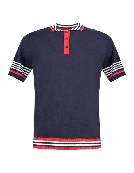 MQJ - Polo blu in maglia di cotone a manica corta con il collo a righe per uomo