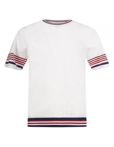 MQJ - T-shirt bianca in maglia di cotone a manica corta con dettagli a righe