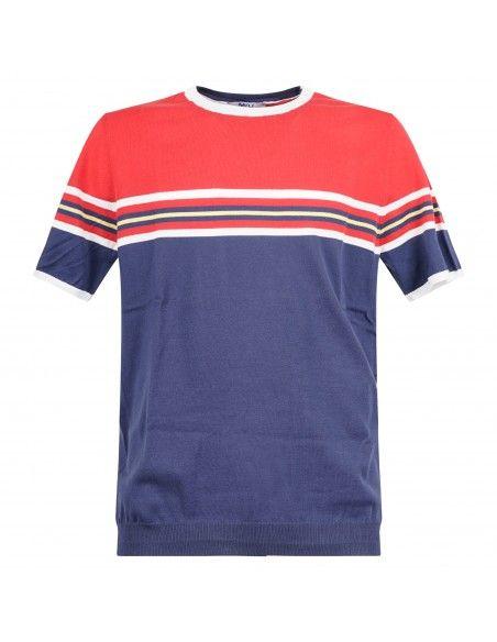 MQJ - T-shirt multicolore in maglia di cotone a manica corta per uomo |