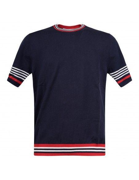 MQJ - T-shirt blu in maglia di cotone a manica corta con dettagli a righe per