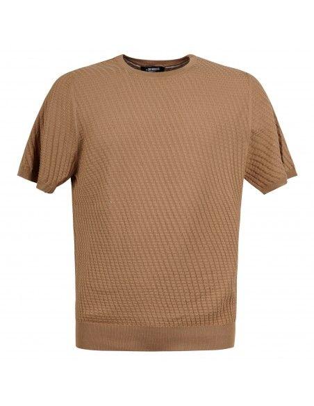 +39 Masq - T-shirt beige in maglia di cotone con lavorazione per uomo |