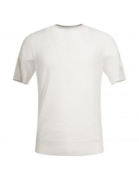 +39 Masq - T-shirt bianca in maglia di cotone con lavorazione per uomo  