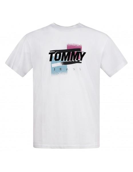 Tommy Jeans - T-shirt bianca manica corta con stampa logo per uomo  