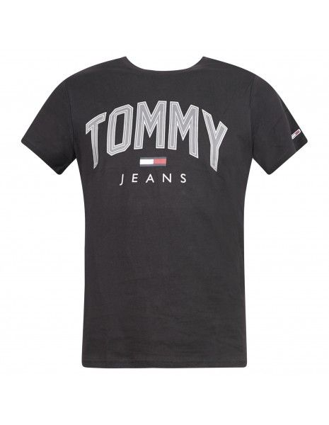 Tommy Jeans - T-shirt nera manica corta con stampa logo per uomo | dm0dm10226bds