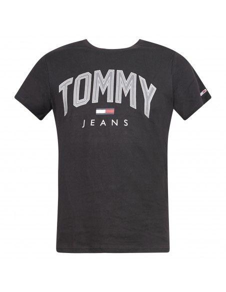 Tommy Jeans - T-shirt nera manica corta con stampa logo per uomo | dm0dm10226bds