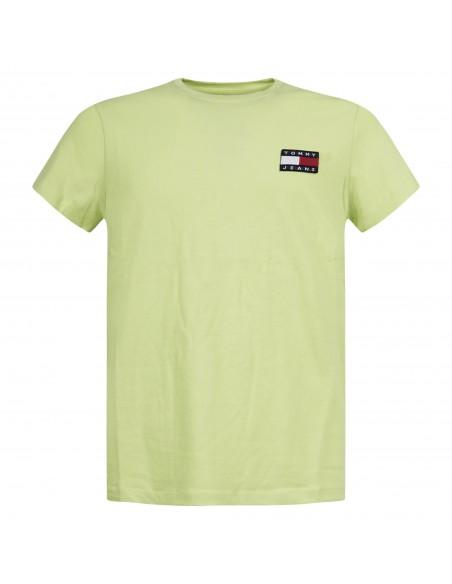 Tommy Jeans - T-shirt verde manica corta con patch logo per uomo | dm0dm06595lt3